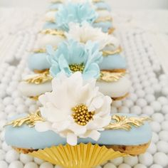 Blue tones for a baby shower...  #eclairs #babyshower#baby #showerparty #anougebakes #ladesserts #onlythebestforourclients #flowers #floral #frenchsesserts #pretty #kidsparty #yummy