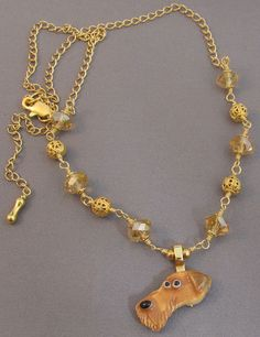 Airedale Dog Breed Necklace Gold Crystal Jewelry
