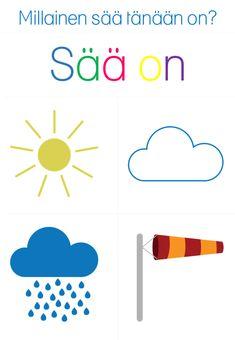 Sääkortit – Suomi-koulussa Teaching Kindergarten, Teacher, Classroom, Education, Logos, Children, Decor, English, Class Room