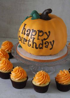 """Come see a sweet little """"Happy Birthday"""" Pumpkin Cake and cupcakes for a fall birthday celebration! Happy Birthday Pumpkin, Pumpkin Patch Birthday, Halloween First Birthday, Pumpkin Patch Party, Pumpkin Birthday Parties, Pumpkin 1st Birthdays, Fall Birthday, Halloween Cakes, October Birthday"""