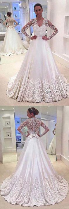 A-Line V-Neck Long Sleeves Court Train Wedding Dress With Appliques