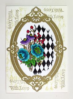 Card created for Chocolate Baroque using the Harlequin Bouquet and Loving Sentiments stamps. Anne Waller #chocolatebaroque #stamping #cardmaking