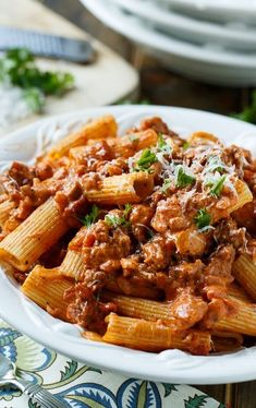 Sausage Rigatoni with Spicy Tomato Cream Sauce (Hot Sausage Recipes) Sausage And Shrimp Recipes, Beef Recipes, Cooking Recipes, Healthy Recipes, Spicy Sausage Pasta, Italian Sausage Pasta, Mexican Recipes, Sausage Rigatoni Recipes, Ground Italian Sausage Recipes