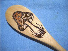 Mushroom Wooden Spoon Wood Burned Pyrography by notjustknots, $5.00