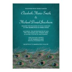 Elegant Peacock Feathers Wedding Invitation