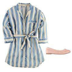Sleepy Jones Marina shirt dress, $178; sleepyjones.com   Repetto Cendrillon ballerina, $216; repetto.com