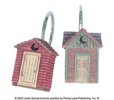 Linda Spivey Out House Bathroom Curtin Decor Outhouse Shower Curtain Hooks Rings Holders - - Product Description: After a long day out hiking in the mountains and you come in smelling like a Bear Outhouse Bathroom, Outhouse Decor, Bathroom Plans, Bathroom Ideas, Rustic Farmhouse Decor, Country Decor, Shower Curtain Rings, Bath Decor, Bath Accessories
