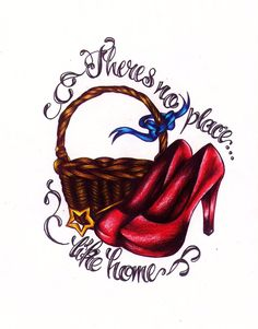 Wizard of Oz tattoo There's no place like home with ruby slippers, wand and basket. Watching the movie right now! I Tattoo, Cool Tattoos, Tatoos, Tattoo Time, Tattoo Flash, Wizard Of Oz Tattoos, Yellow Brick Road, Ruby Slippers, Piercings
