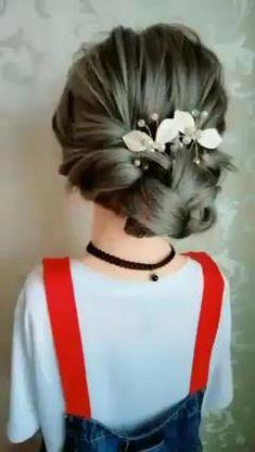 Bun Hairstyles For Long Hair, Hairstyles Videos, Easy Elegant Hairstyles, Office Hairstyles, Anime Hairstyles, Stylish Hairstyles, School Hairstyles, Simple Wedding Hairstyles, Elegant Updo