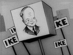 Así de simple, así de efectivo en comunicación política. En 1952 la televisión estadounidense emitió el primer anuncio electoral. Apoyaba al candidato Dwight Ike Eisenhower con el eslogan I like Ike. 60 segundos de dibujos animados en blanco y negro creados por Disney y una sintonía que firmaba Irving Berlin, el autor de Blanca Navidad y muchos otros éxitos clásicos americanos.