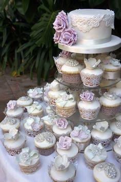 Silver, White, Lilac Cake, Cupcakes