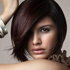 Cute cut with burgundy highlights on dark brown hair
