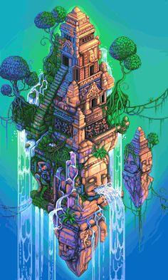 pixel art temple pixel gif