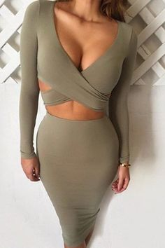 Cut Out Plunging Neck Long Sleeves Bodycon Dress
