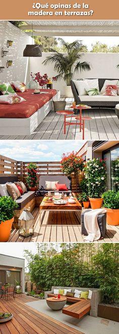 Madera en terrazas. Madera en exteriores. Terrazas con madera.