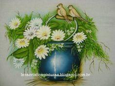 Pintura em Tecido e Artesanato: Balde com Flores e Pássaros...Pintura em Panos de Copa/Prato