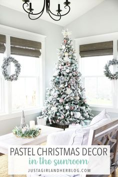 This pastel Christmas decor in the sunroom just goes to show that you don't have to stick to a traditional color scheme to be festive during the holidays! Get inspiration for your own holiday decorating in this post! Christmas Style, Rustic Christmas, Beautiful Christmas, All Things Christmas, Christmas Home, Christmas Ideas, Christmas 2019, Coastal Christmas, Christmas Staircase Decor