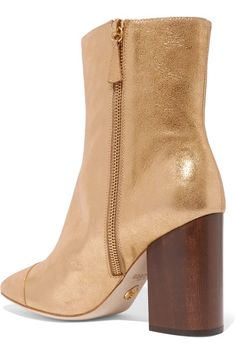 Brother Vellies - Bianca Metallic Brushed-leather Ankle Boots - Gold - US7