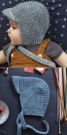 vintage-babyhaube-mit-visier-tutorial-baby-bonnet-tutorial-vintage/ - The world's most private search engine Baby Hats Knitting, Crochet Baby Hats, Knitting For Kids, Free Knitting, Knitted Hats, Knit Crochet, Knit For Baby, Baby Boy Knitting Patterns Free, Baby Hat Patterns