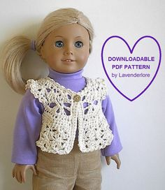 "Crochet American Girl Doll Pattern by Lavenderlore for 18"" Doll - Permission to Sell Finished Item"