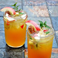 This Apple Cider Mojito Recipe would be awesome for a harvest party, Thanksgiving gathering, cookie swap or with friends at a bonfire! Get the recipe!!