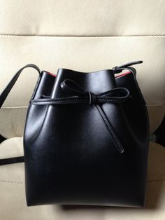 Large Black Leather Bucket Bag Flamma Red interior matte patent Adjustable strap