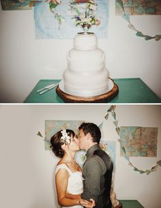 Love this simple, white cake. Not to mention the handmade floral headpiece she made herself. Le sigh.
