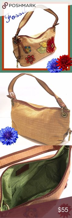 """FOSSIL Hobo Bag Colorful Leather Flowers. Really super nice Fossil hobo bag in excellent condition!! Measures 15 1/2"""" wide x 8"""" high x 5"""" deep.  Strap drops down 7"""". Fossil Bags Hobos"""
