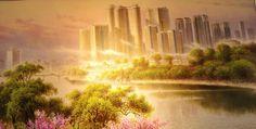 Obra exhibida en la Casa de Creación Mansudae, mayor centro de producción artística de Corea Socialist Realism, Country Roads, River, Outdoor, Korea, The Creation, Centre, Artists, Outdoors