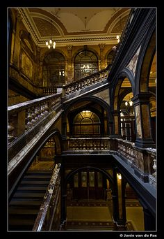 Staircases in the Glasgow City Chambers, Scotland. I have climbed these stairs with my cousin who was a Baillie (councilor) in Glasgow. He took us on a tour on our visit. Shared by Motorcycle Fairings - Motocc Beautiful Architecture, Beautiful Buildings, Beautiful Places, Vintage Architecture, Glasgow Scotland, Scotland Travel, Glasgow City, Cities, Stairway To Heaven