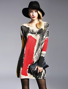 Women knitted artistic print long sleeve dress at $18.99