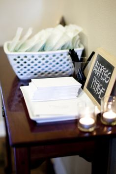 """Have guests address an envelope for """"thank you"""" cards.  Draw one for door prize! Great for all kinds of showers, birthday parties, events!!"""