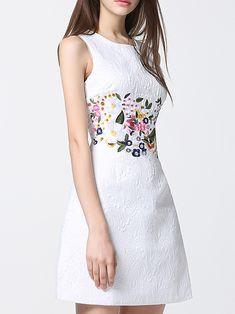 - White Crew Neck Embroidered Jacquard Dress -SheIn(abaday) – White Crew Neck Embroidered Jacquard Dress -SheIn(abaday) Source by – Source by hwaAllene - Tweed Dress, Belted Dress, Striped Dress, Bodycon Dress, White Dress, Simple Dresses, Elegant Dresses, Combo Dress, Jacquard Dress