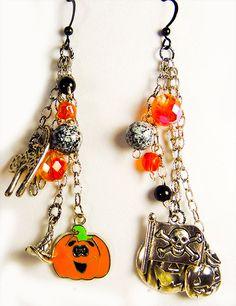 Earrings, Halloween earrings, black ear wires, black and orange beads, Halloween charms, cat charm, pumpkin charm, skull crossbones charm, by EarringsBraceletsEtc on Etsy