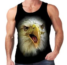 Velocitee Mens Vest Eagle Head Big Bird Face A18276 UK Seller #Velocitee