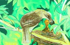 a mother bird feeding her baby painting background