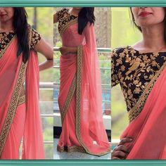 Product id - 1475822 Light peach georgette saree . . . . . #saree #sareelove #georgettesaree #georgette #peach #peachsaree #mirraw #mirrawlove