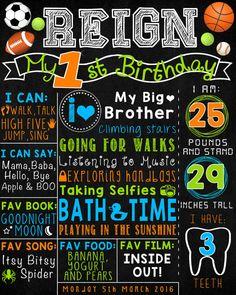 Safari First Birthday Chalkboard Poster Boy by LetsChalkMemories 1st Birthday Signs, First Birthday Posters, First Birthday Themes, Baby Boy 1st Birthday, Blue Birthday, Birthday Board, Birthday Ideas, Chalkboard Party, First Birthday Chalkboard