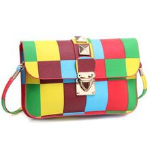 New Women Rainbow Color Bag Ladies Women Messenger Bags PU Leather Fashion Crossbody Shoulder Bag Small Brand Party Bags
