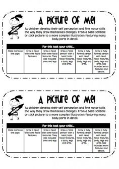Attach this tag to assess a student's 'picture of me' task. It begins with a short description about the progression of drawing skills in children. Underneath is a rubric where teachers can tick which