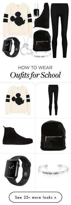 """school wear #20"" by alexfred on Polyvore featuring Uniqlo, Donna Karan, Ann Demeulemeester, Essie and Disney"