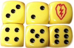 Custom & Unique {Standard Medium 16mm} 6 Ct Pack Set of 6 Sided [D6] Square Cube Shape Playing & Game Dice w/ US Army 25th Infantry Div. Simple Team Game & Gambling Design [Yellow, Red & Black]