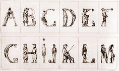 Alphabet comique Honoré Daumier 1836 L'immense caricaturiste que fut Honoré Daumier ne pouvait passer à côté de la veine des alphabets anthropomorphes qui, après avoir enflammé l'imagination des artistes du XVIe siècle, connaît un véritable regain d'intérêt à l'époque romantique.