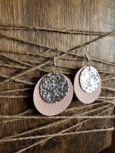 Round Faux Leather Earrings Blush/Silver Glitter Mint/Silver Glitter Raspberry/Silver Navy/Silver inches Two Tier Diy Leather Earrings, Black Stud Earrings, Diy Earrings, Bridal Earrings, Leather Jewelry, Diy Jewelry, Jewelry Making, Homemade Jewelry, Jewelry Ideas