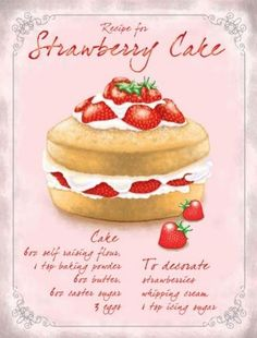 Strawberry Cake Recipe 15x20cm Vintage Steel Wall Plaque Retro Shabby Chic Sign | eBay