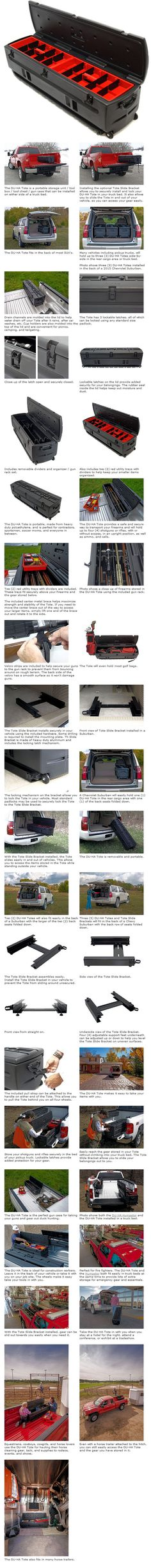 Portable All-In-One Tool Box that serves as a storage unit; tool box; and a gun case. This truly unique and versatile tool box is a must have item for any Pickup or SUV