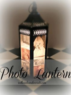 Display your favorite photos in a lantern lit up with a small lamp or Christmas lights.