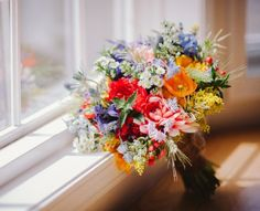 Wildflower Bouquets... love the orange poppies and sweet asters...