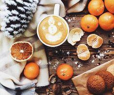 Christmas. Winter. New Year. Coffee. Cookies. Mandarin. Tangerine.