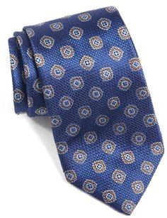 Men's David Donahue Medallion Woven Silk Tie